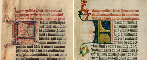 The same page illustrated by two different artists. Gutenberg sold the books without these illustrations, drop caps and opening paragraphs, leaving it to the purchaser to commission