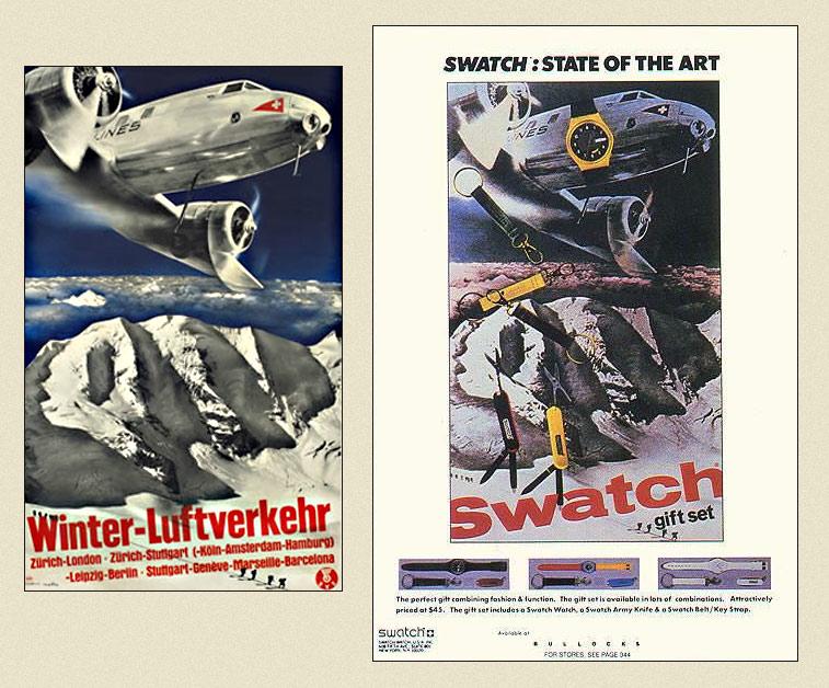 plagiarism, herbet matter, swiss style, 1930, swatch clock, vintage , retro, old ads,